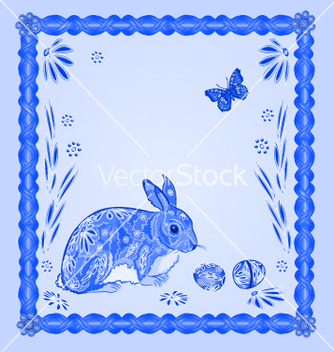 Free easter blue bunny with butterfly frame vector - Kostenloses vector #235781