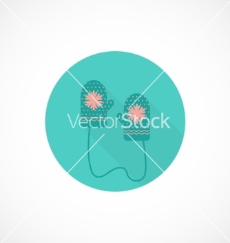 Free flat icon mittens with ornament vector - vector gratuit #236531