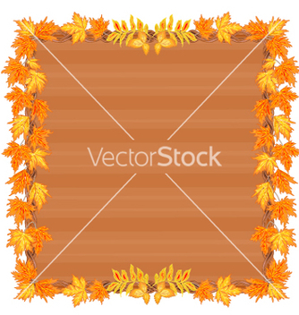 Free wooden frame with autumn leaves rowan and maple vector - vector gratuit #236611