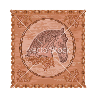 Free horse and oak leaves and acorns woodcarving vector - Free vector #236731