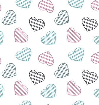 Free hand drawn doodle seamless pattern of hearts vector - Free vector #237211