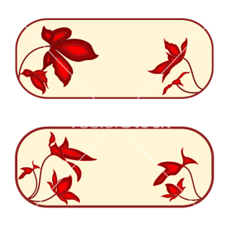 Free button banner rectangle with red flowers vector - vector gratuit(e) #237631