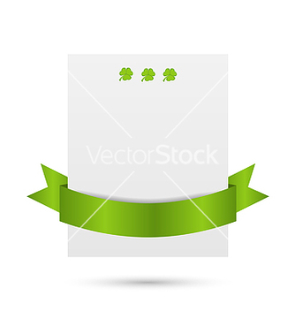 Free greeting card with shamrocks and ribbon for st vector - Free vector #238221