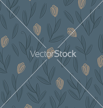 Free floral blue seamless pattern with yellow tulips vector - vector gratuit(e) #238261