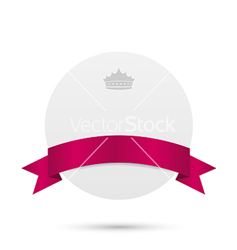 Free greeting card with pink ribbon and crown vector - Free vector #238331