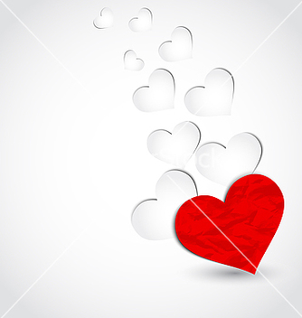 Free crumpled paper hearts for valentines day vector - vector gratuit #238691