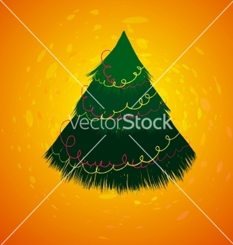 Free christmas card with sketch new year tree vector - Free vector #239211