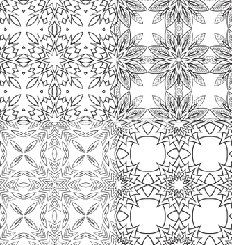 Free black and white textile patterns set vector - Free vector #239781