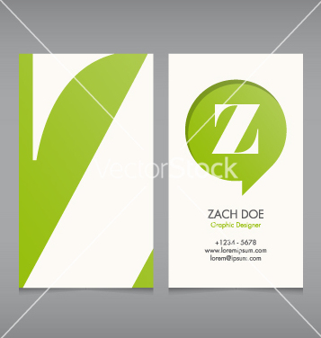 Free business card template letter z vector - vector #239841 gratis