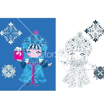 Free snow maiden russian style vector - Free vector #242981