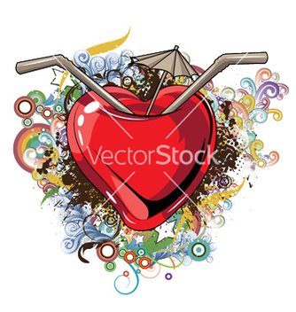 Free heart with floral vector - Free vector #244021