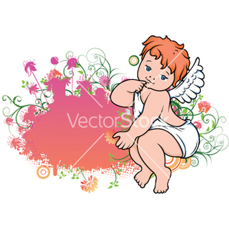 Free angel with floral vector - Free vector #246171