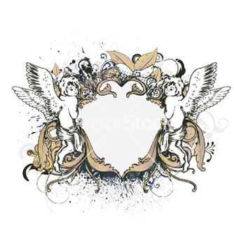 Free angels with floral frame vector - Free vector #246511