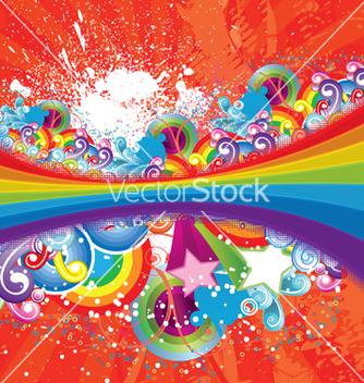 Free rainbow with floral vector - Free vector #247341