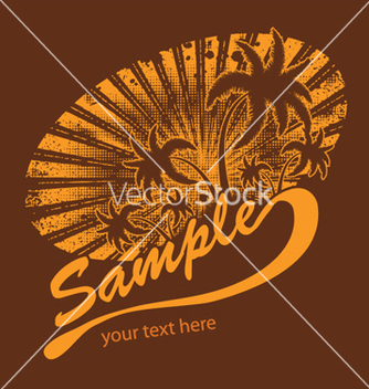 Free summer tshirt design with palm trees vector - vector gratuit #248711