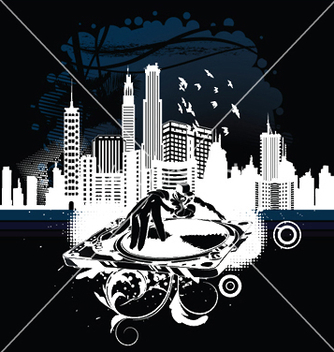 Free music background with dj and city vector - Free vector #248831