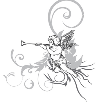 Free angel with floral vector - Kostenloses vector #249961