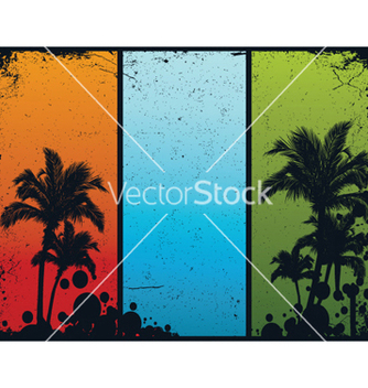 Free vintage summer banners with palm trees vector - Free vector #251341