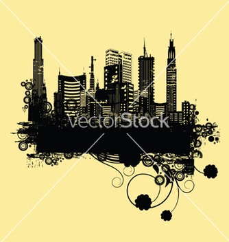 Free vintage city background with floral vector - Free vector #252631