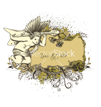 Free angel with floral frame vector - Free vector #253031
