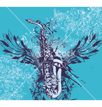 Free music with saxophone vector - vector gratuit #253041