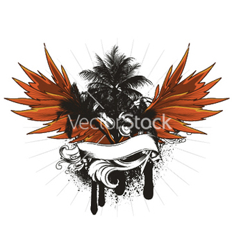 Free summer grunge emblem with palm trees vector - Free vector #253271