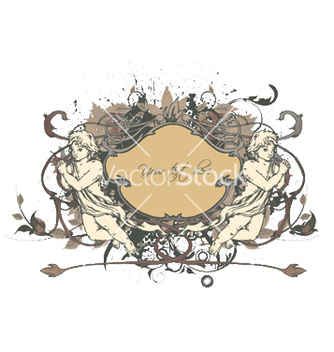 Free angels with floral frame vector - Free vector #253701