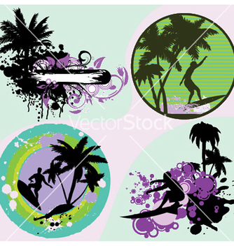 Free summer frames set with palm trees vector - vector gratuit #253851