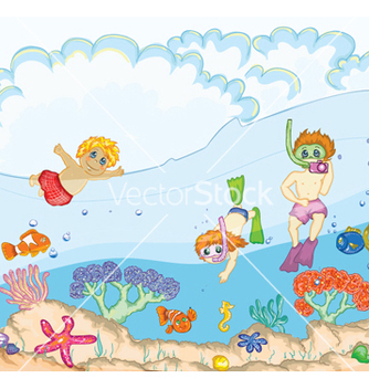 Free kids swimming vector - vector gratuit #254531