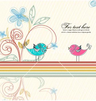 Free birds with floral vector - Kostenloses vector #255901