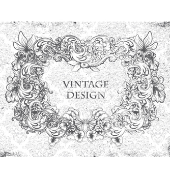 Free grunge damask background with floral frame vector - Free vector #258491