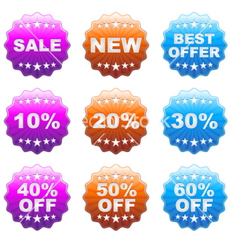 Free discount labels set vector - Free vector #258511
