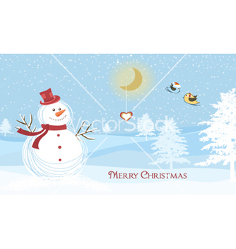 Free snowman with birds vector - vector gratuit #258751