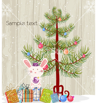 Free bunny with tree vector - Free vector #259501