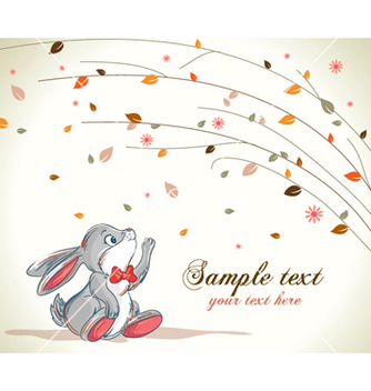 Free bunny with floral background vector - Free vector #259701
