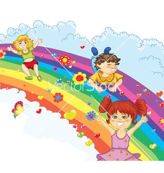 Free kids on rainbow vector - Free vector #260251