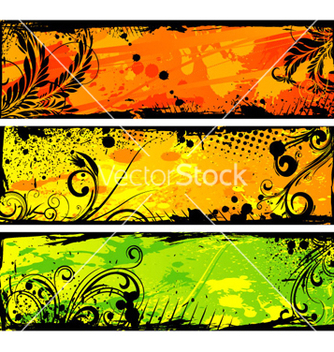 Free grunge floral banners set vector - Kostenloses vector #265051