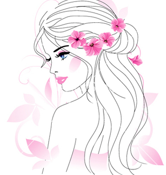 Free girl with flowers vector - vector gratuit(e) #267001