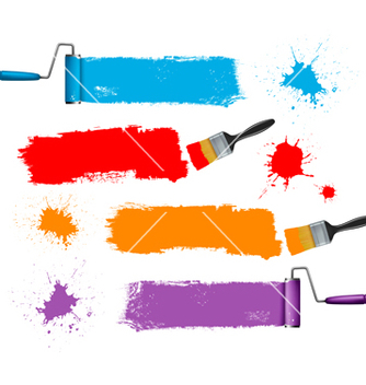 Free paint brush and paint roller and paint banners vector - vector gratuit(e) #267011