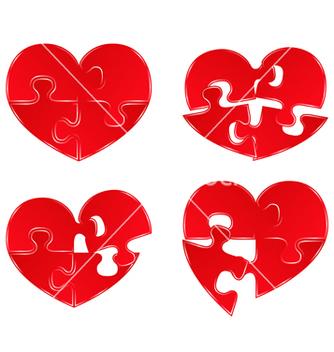 Free puzzle hearts vector - Free vector #267291