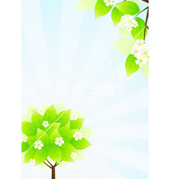 Free green tree and sun rays in blue sky vector - бесплатный vector #267441