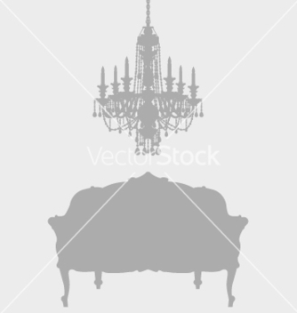Free chandelier and french lounge chair vector - Free vector #270611
