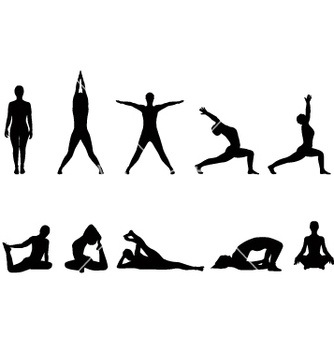Free yoga silhouettes vector - Free vector #270931