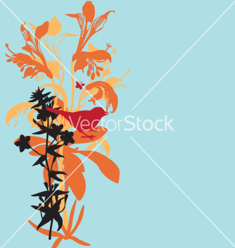 Free lily and bird vector - Free vector #271201