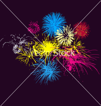 Free fireworks on night sky vector - Free vector #271391