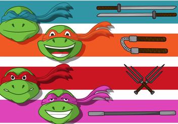 Ninja Turtle Banner Vectors - Free vector #272441