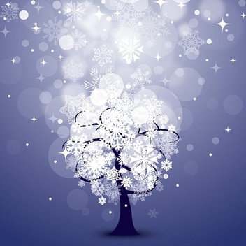 Snowy Night Background with Tree - vector gratuit #272491