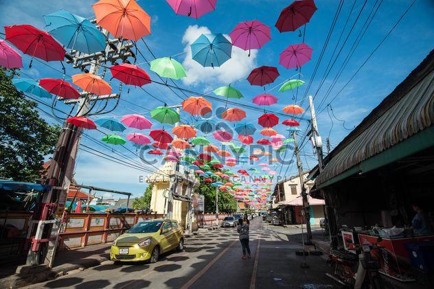 colourful umbrellas hanging - Free image #273101