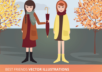 Best Friends Vector Illustration - Free vector #273241