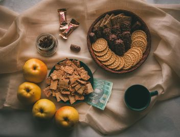 Sweets, apples, cup of coffee and money - image #273861 gratis